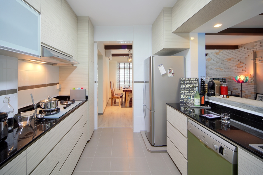 Home interior designers in singapore condo and hdb interior designs Kitchen door design hdb